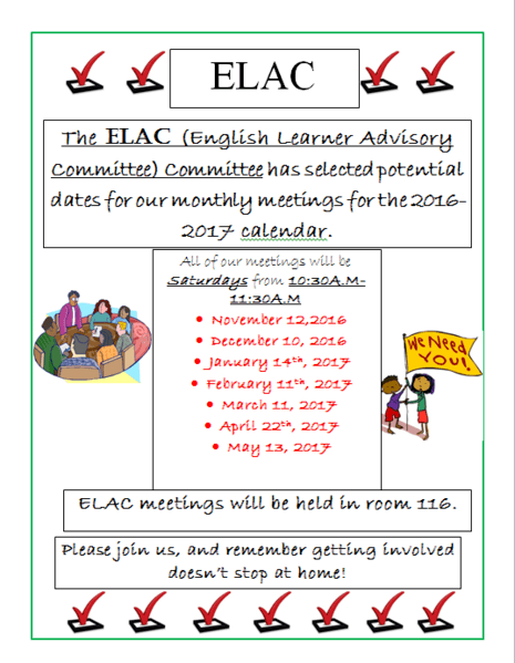 ELAC Meetings Potential dates/Fechas Posibles de ELAC